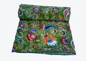 Indian Twin Kantha Quilt  Print Bedspread Cotton Throw Reversible Blanket