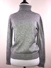 PETITE SOPHISTICATE Gray White Cotton Turtleneck Sweater Size M