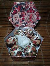 6 Vintage Victorian Christmas paper mache balls / ornaments - orig. octagon box