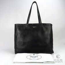 AUTHENTIC PRADA EAST WEST REVERSIBLE SOLF CALFSKIN LEATHER TOTE BAG BLACK RED