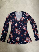 Ladies BODEN long Sleeve Wrap Style Top Navy Blue floral size 10