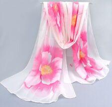 Foulard 160 X 50 cm Mousseline de Soie Rose et blanc - Motif Fleurs Pivoine -