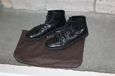 Gucci GG Logo Imprime Monogram Nero Black Coda High Top Sneaker Shoes 9G 10US