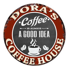 CPCH-0249 DORA'S COFFEE HOUSE Chic Tin Sign Decor Gift Ideas