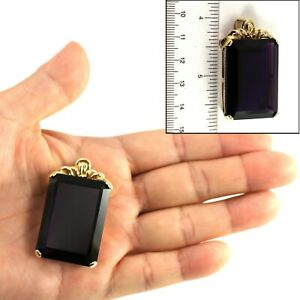 Classic Cushion Amethyst Solitaire Pendant 14k Solid Yellow Gold TPJ