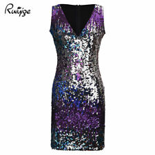 Womens Ladies Sequin Deep V Neck Mini Dress Party Clubwear Evening Plunge Dress