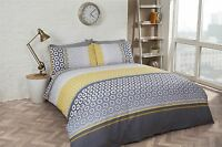 HEXAGONAL BANDED STRIPES YELLOW GREY COTTON BLEND DOUBLE DUVET COVER