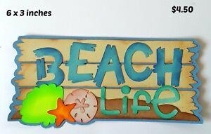 BEACH LIFE TITLE summer scrapbook paper piecing  premade 3D die cut by Rhonda