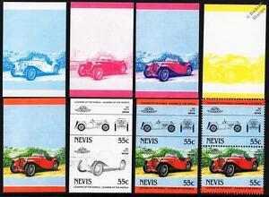 1947 M.G. / MG TC Car Stamps (1984 Nevis Progressive Proofs / Auto 100)