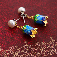 Chinese Vintage Cloisonne Blue Orchid Flower Bud Handmade Drop Earrings Pearls
