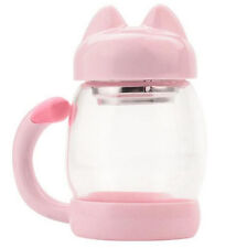 Cute Cat Thermos Transparent Glass Travel Mug Coffee Tea Lid Cups Water Bottle