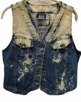 Vintage 1980's Bill Blass Acid Wash Denim Vest Top Womens sz M Blue Jean Shirt