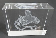 VANCOUVER CANUCKS  LASER ETCHED LOGO GLASS PAPERWEIGHT