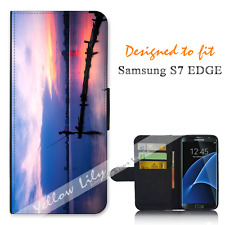 Samsung Galaxy S7 EDGE Wallet Flip Phone Case Cover Live for Fishing Y00973