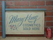 Old MARY KING COSTMETICS Sold Here Double Sided Wooden Flange Advertising Sign