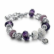 Long Way Silver Plated Snake Chain Charm s Bangles Purple Murano Glass
