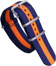 Strap - 20mm/Nylon Blue/Orange Stripe Military-Style Watch