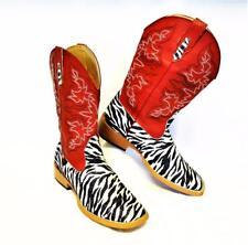 NEW Roper Womens 8M Boots Red Zebra Glitter Vamp Square Toe Faux Leather Vegan