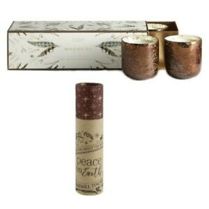 Illume Wood Fire Luxe Sanded Bronze Glass Votive 3 Pack Candle Box Gift Set