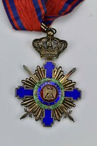 Romanian Solid Silver Commanders Medal Order of the Star of Romania 19th Century