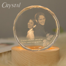 "3.14"" 3d Personalized Laser Engrave Crystal Glass Photo W LED light Stand base"