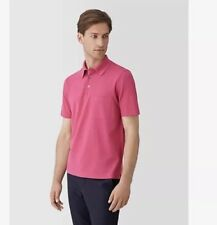 BNIB Auth HERMES H embroidered buttoned Pink polo shirt M