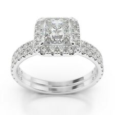 1.68 Ct Diamond Engagement Ring VVS1 14K Real White Gold Rings Princess Size M N