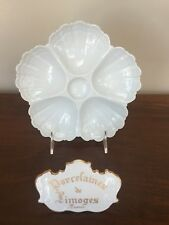 "Limoges France WHITE PORCELAIN 8"" OYSTER PLATE"