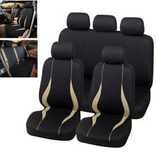 9PCS Beige/Black Car Seat Protector Car Accessories Interior Full Set Front&Rear