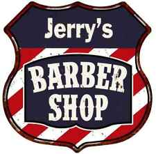 Jerry's Barber Shop Personalized Shield Metal Sign Hair Gift 211110020042