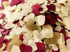 Burgundy red, gold & ivory heart wedding confetti - party table decorations