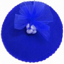 """50 Scalloped Tulle Circles 9"""" Wedding Favor Wrap - Royal Blue"""