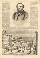 Richmond, VA. High Street, Civil War, City View, Vintage 1862 Antique Art Print