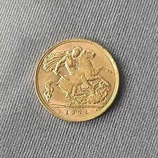 More details for 1908 gold sovereign half london mint