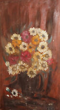 Vintage Impressionist oil painting still life with flowers signed
