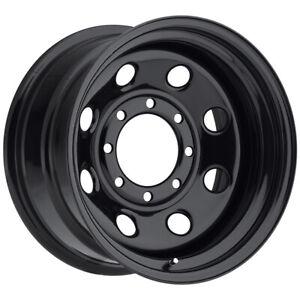 """Vision 85 Soft 8 16x8 8x6.5"""" -6mm Gloss Black Wheel Rim 16"""" Inch"""
