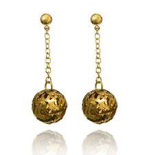 Or tissé grandes boules fashion Décoration Femmes Long Drop Boucles D'oreille E1414