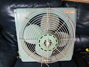 Vtg Vornado Large Metal Window Fan Heavy Duty Blue