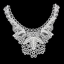 White Fabric Venise Lace Beaded Sewing Applique Yoke Neckline Collar Motif
