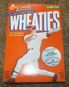 MARK MCGWIRE WHEATIES CEREAL BOX OAKLAND A's ST LOUIS CARDINALS MLB 70 HOME RUNS