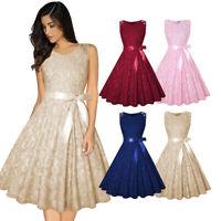 Womens Sleeveless Vintage Swing Skater Lace Rockabilly Party Evening Retro Dress