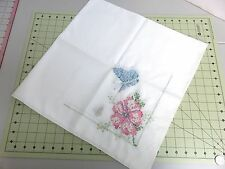 Hand Cross Stitched Luncheon Cloth and Buffet Scarf- Flowers & Butterflies