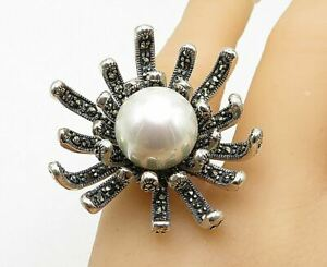 925 Sterling Silver - Freshwater Pearl & Marcasite Cocktail Ring Sz 7 - R10518