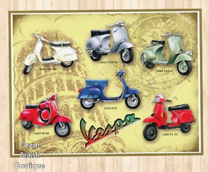 Large Nostalgic Metal Retro Wall Sign! - Vespas From 1940'S-1980'S