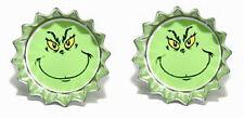 GRINCH FACE CHRISTMAS MINI BOTTLE CAP CUFF LINKS (CAP021f)