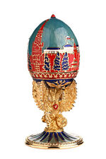 Faberge Egg Moscow Kremlin Russian Double Headed Eagle / Coat of Arms 4.3'' 11cm