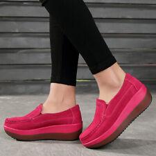 Women's Rocker Sole Platform Shoes Wedge Suede Slip On Loafers Casual