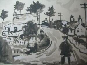 TWO KYFFIN WILLIAMS SKETCHES WELSH FARMER/ VILLAGE  DRAWINGS  PENCIL/WATERCOLOR