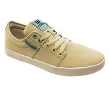 SUPRA Stacks II Mens Canvas Trainer Sporty Gym Sneaker Shoe Plimsole Beige White