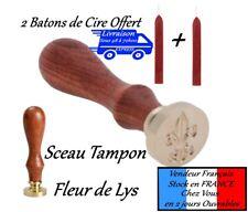 Sceau Tampon CACHET CIRE Fleur de Lys Royal  + 2 batons  batonnets  de  cire